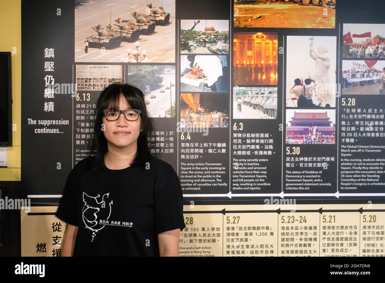 Hong Kong, Chine. Le 05septembre 2021. Les vice-présidentes de l'Alliance  de Hong Kong pour le soutien des mouvements démocratiques patriotiques de  Chine Chow Hang-Tung ont publiquement rejeté la demande d'information de la