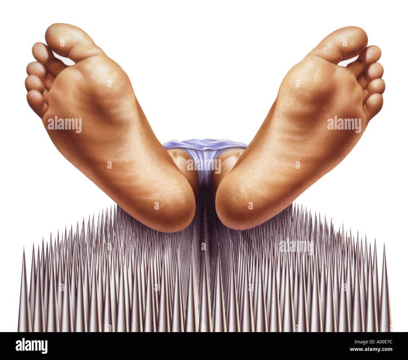 Fakir ongles lit avec pieds close-up Photo Stock