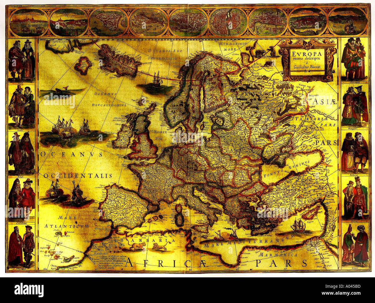 Carte antique de l'Europe Photo Stock