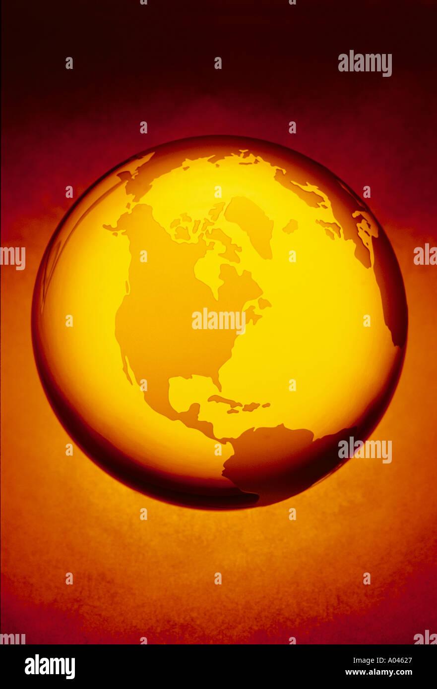 Globe globe de cristal montrant Amérique du Nord Photo Stock