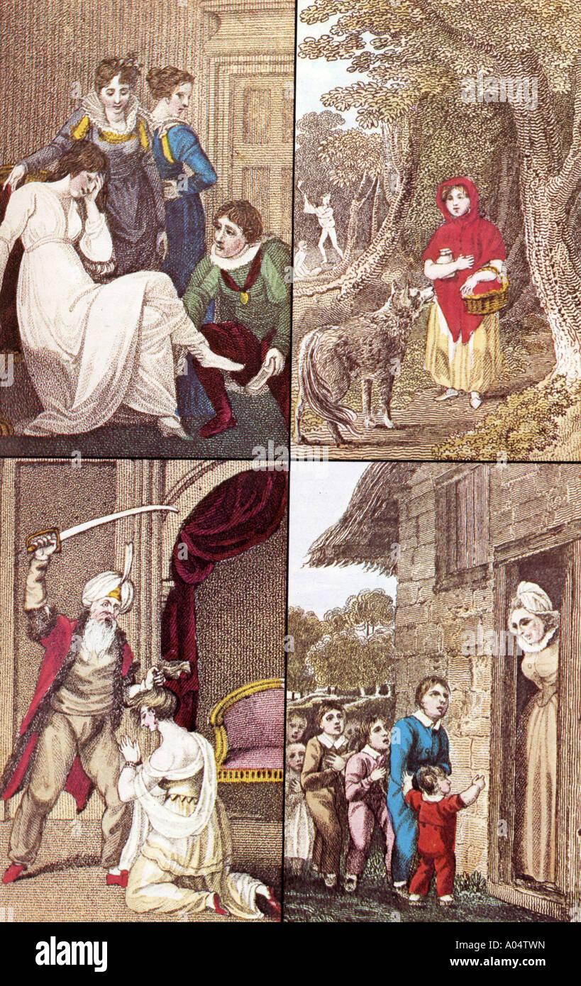 Contes de fées - Le Petit Chaperon Rouge, Cendrillon, Barbe-bleue et hop o' mon pouce dans un livre 1804 - voir description ci-dessous pour plus de détails Photo Stock