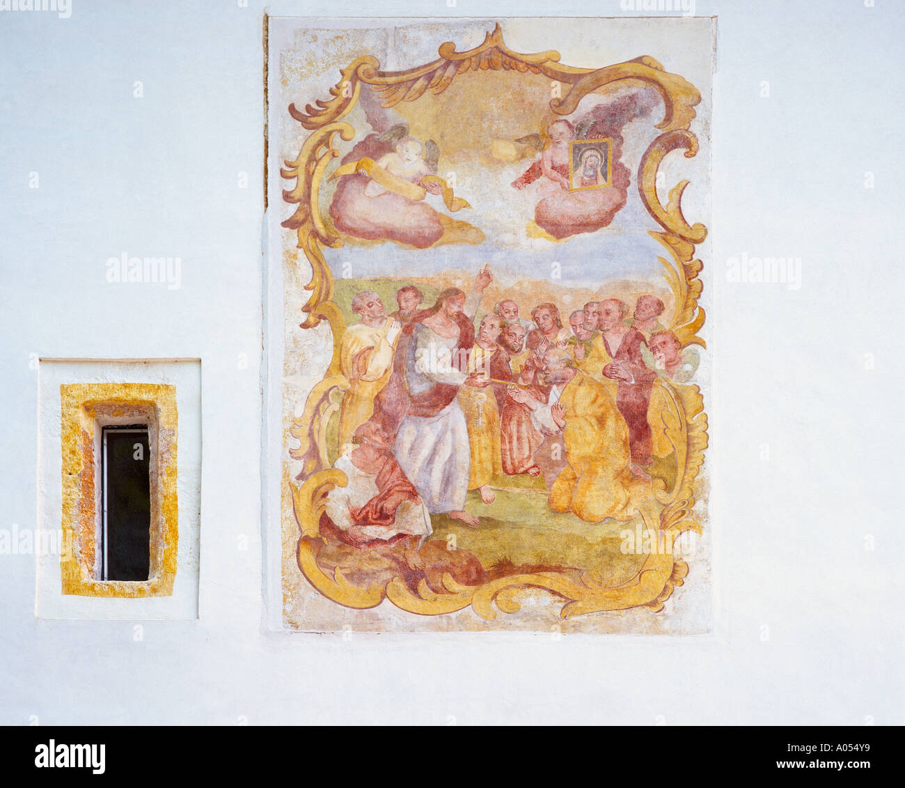 Peinture Murale Religieuse Sur Mur Extérieur à Radovljica
