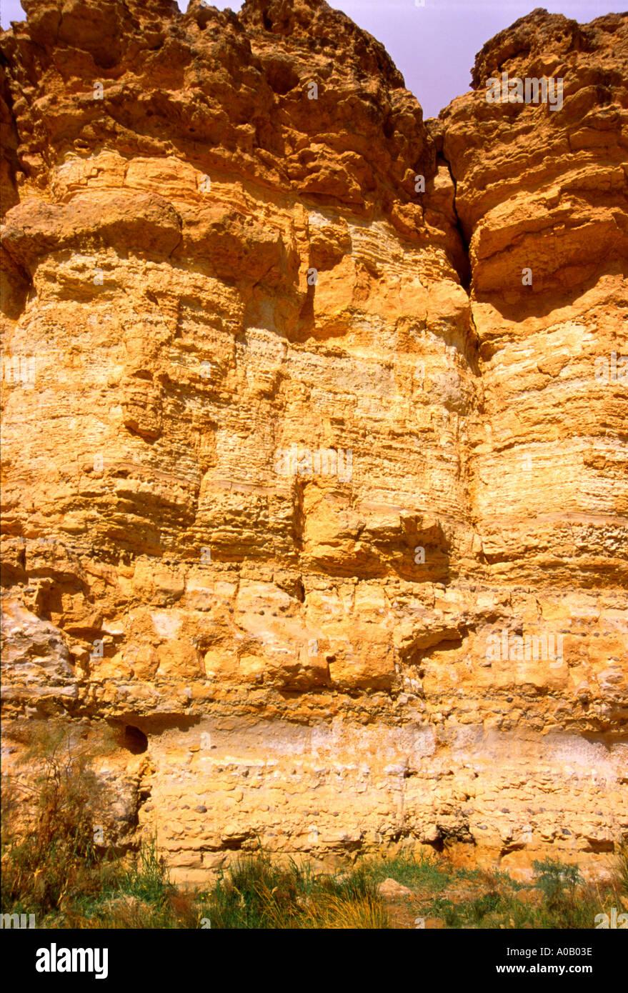 Les murs de canyon désert en Tunisie 966 Photo Stock