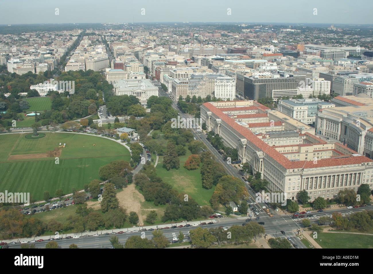 La Maison Blanche et de l'ellipse à partir du haut du Monument de Washington Washington DC Octobre 2006 Photo Stock