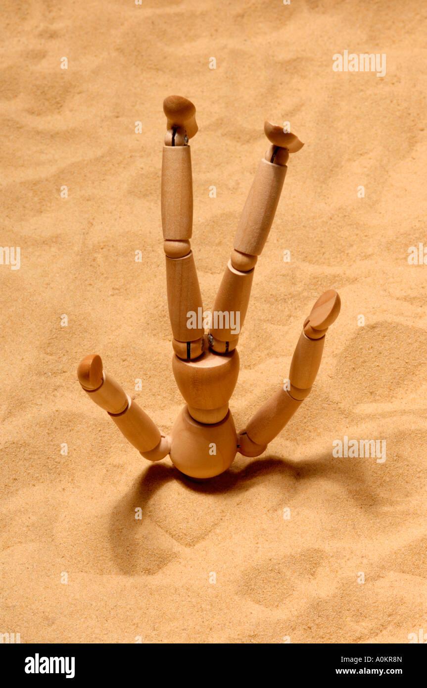 Tête dans le sable concept Photo Stock