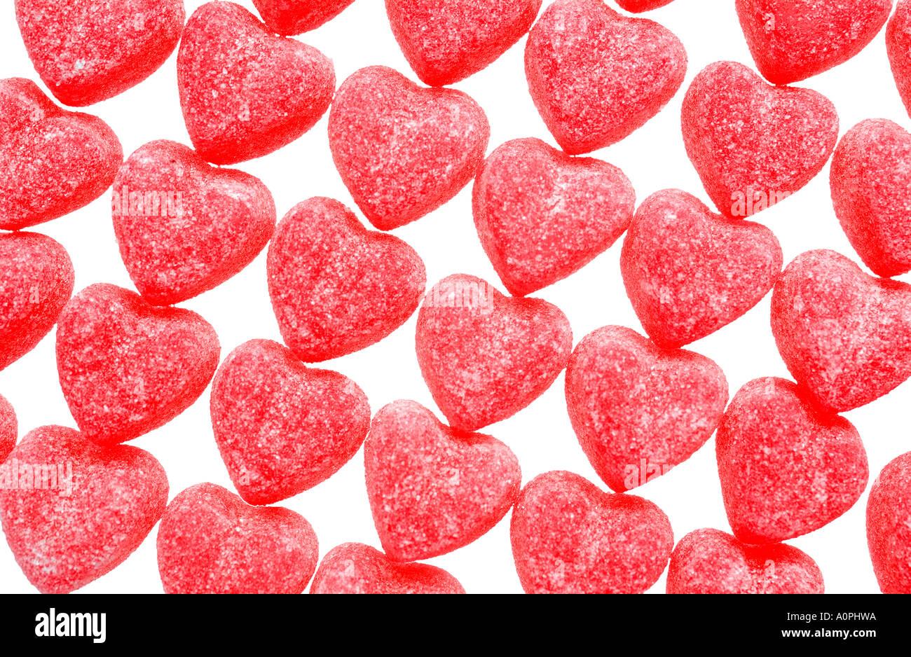Dans les rangées bonbons Coeur Photo Stock