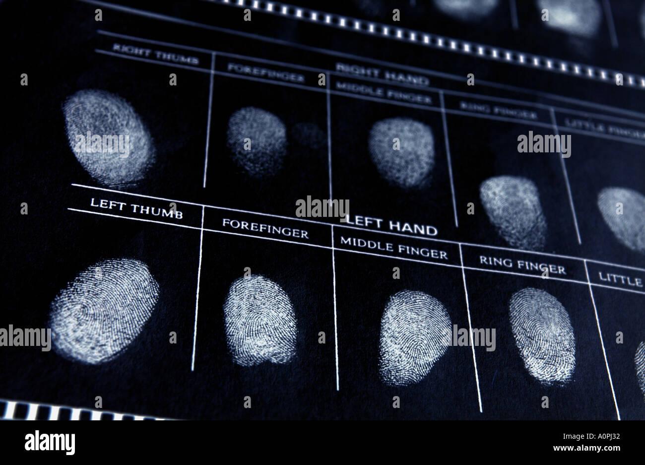 Un effet négatif d'un fichier de police avec empreintes digitales Photo Stock