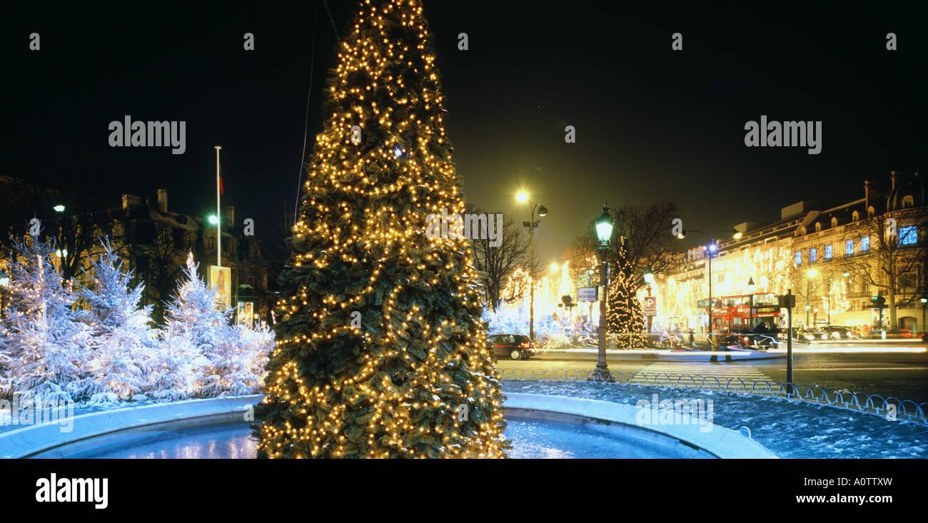 Noël au Rond Point des Champs Elysees Photo Stock