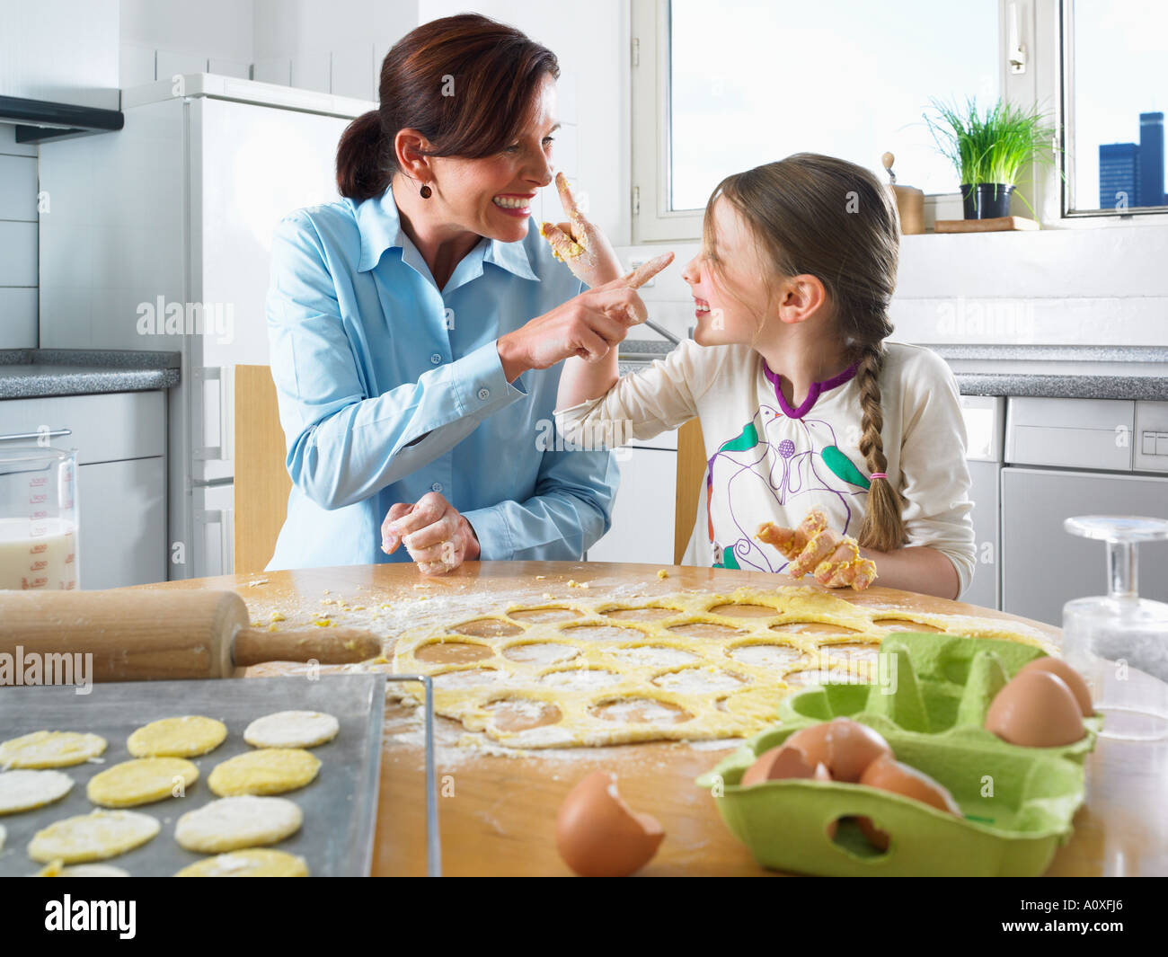 Family baking Banque D'Images