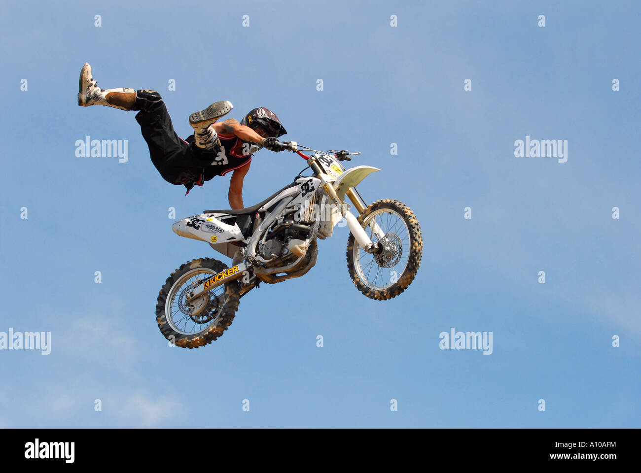 Dirt Bike Rider stunt rider Photo Stock