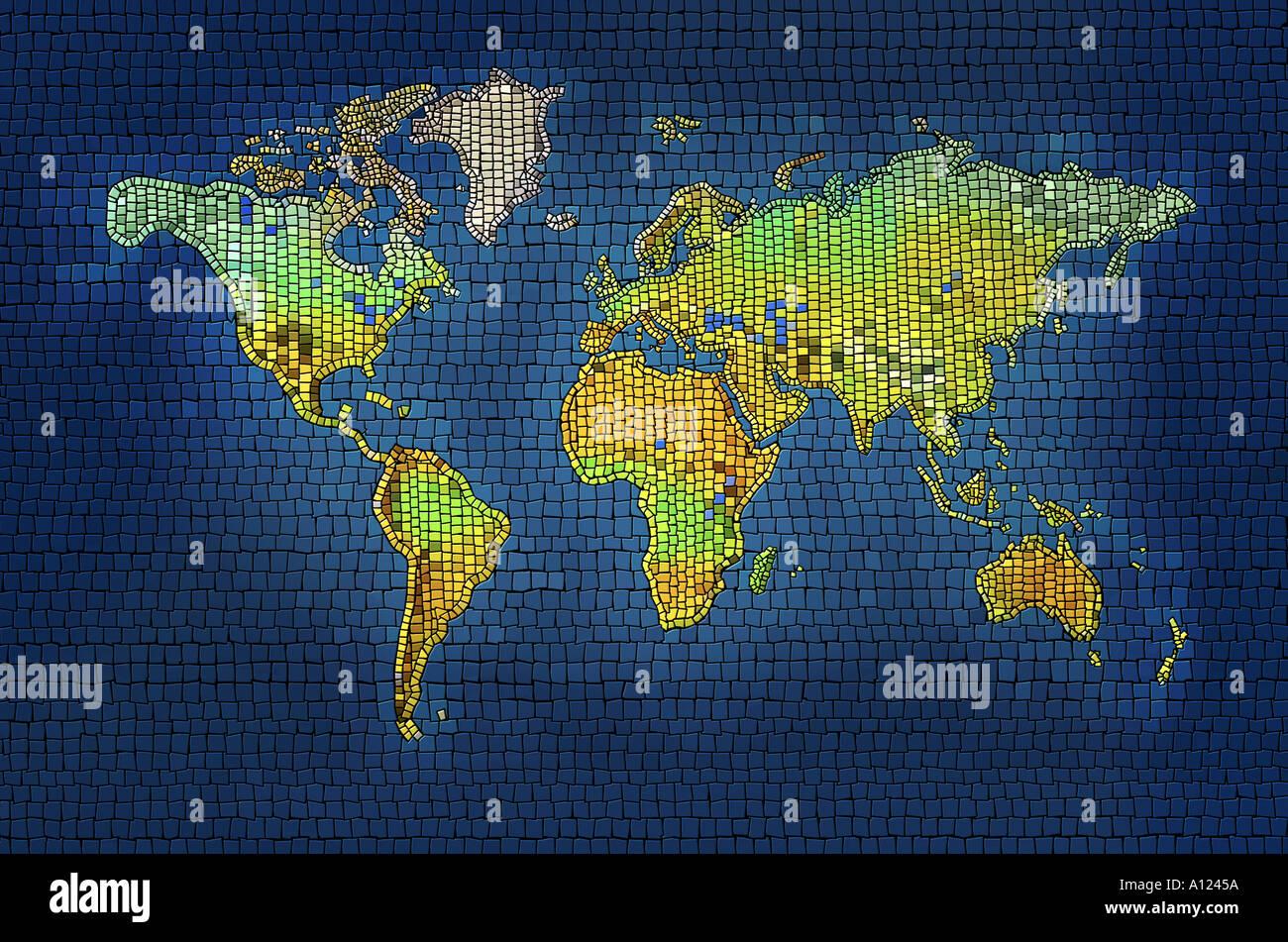 Carte du monde mosaïque Photo Stock