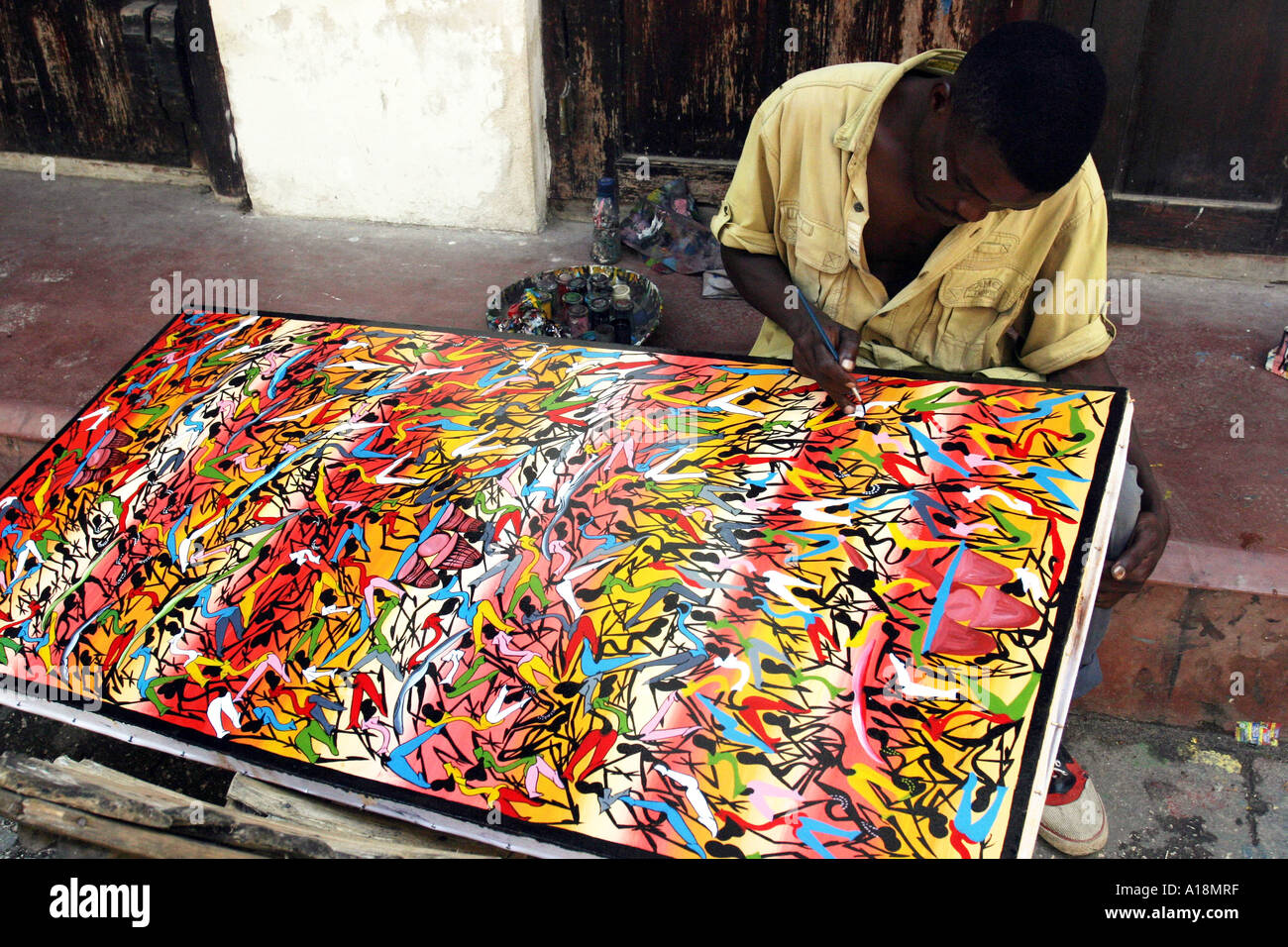 ZANZIBAR - Tinga Tinga peinture Photo Stock