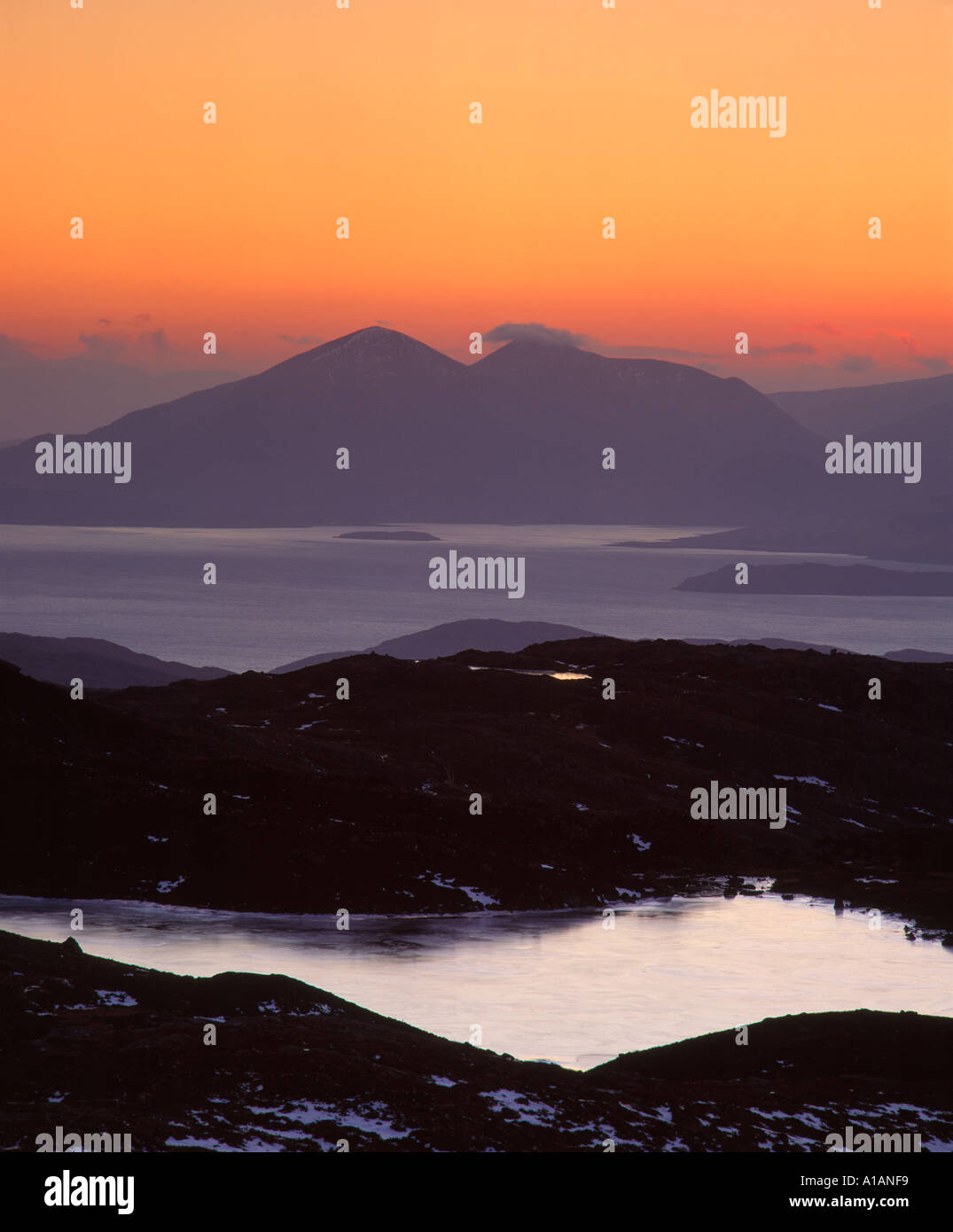 Vue depuis le Bealach na Ba à la Red Cuillin sur l'île de Skye, près de Walcourt, Ross et Cromarty, Highland, Scotland, UK Photo Stock