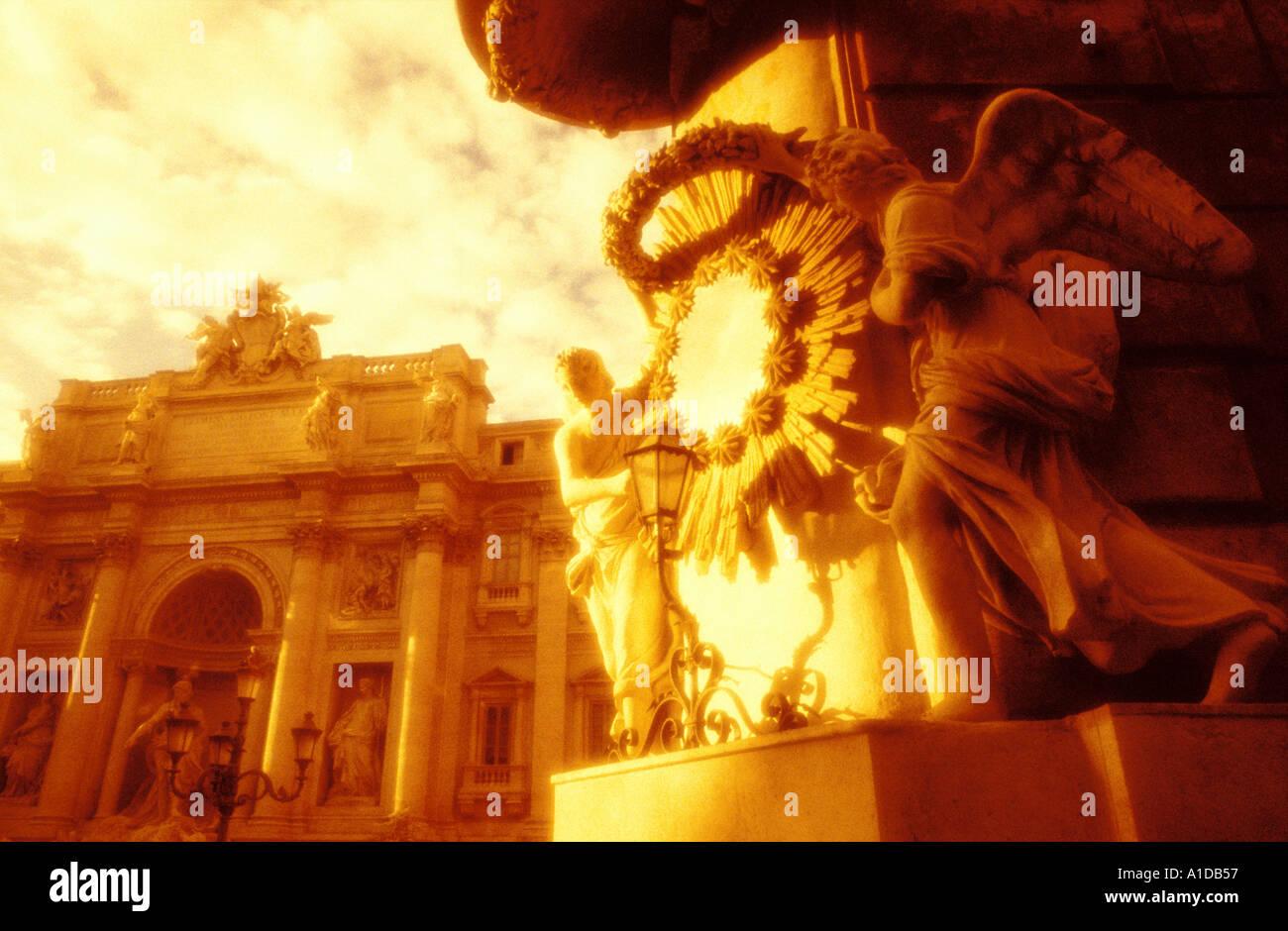 Italie Rome Fontaine de Trevi look granuleux chaud Banque D'Images