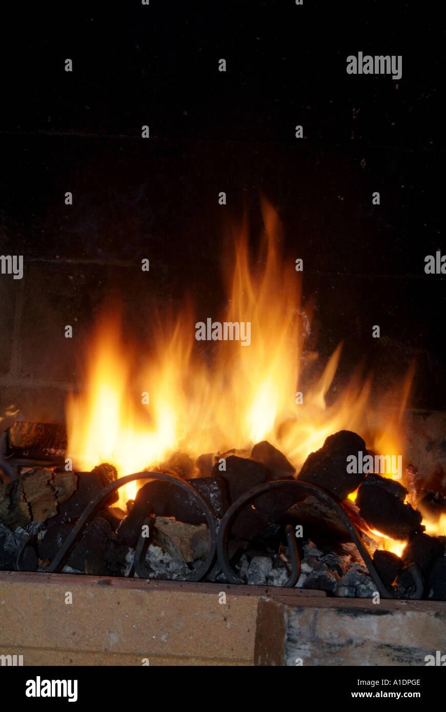 Ouvrez, Feu, flamme, flamme, brûler, brûler, charbon, bois, journaux, journaux, carbone, dioxyde de carbone, l'empreinte écologique, combustibles, carburant, chaleur, lumière, fumée, c Photo Stock