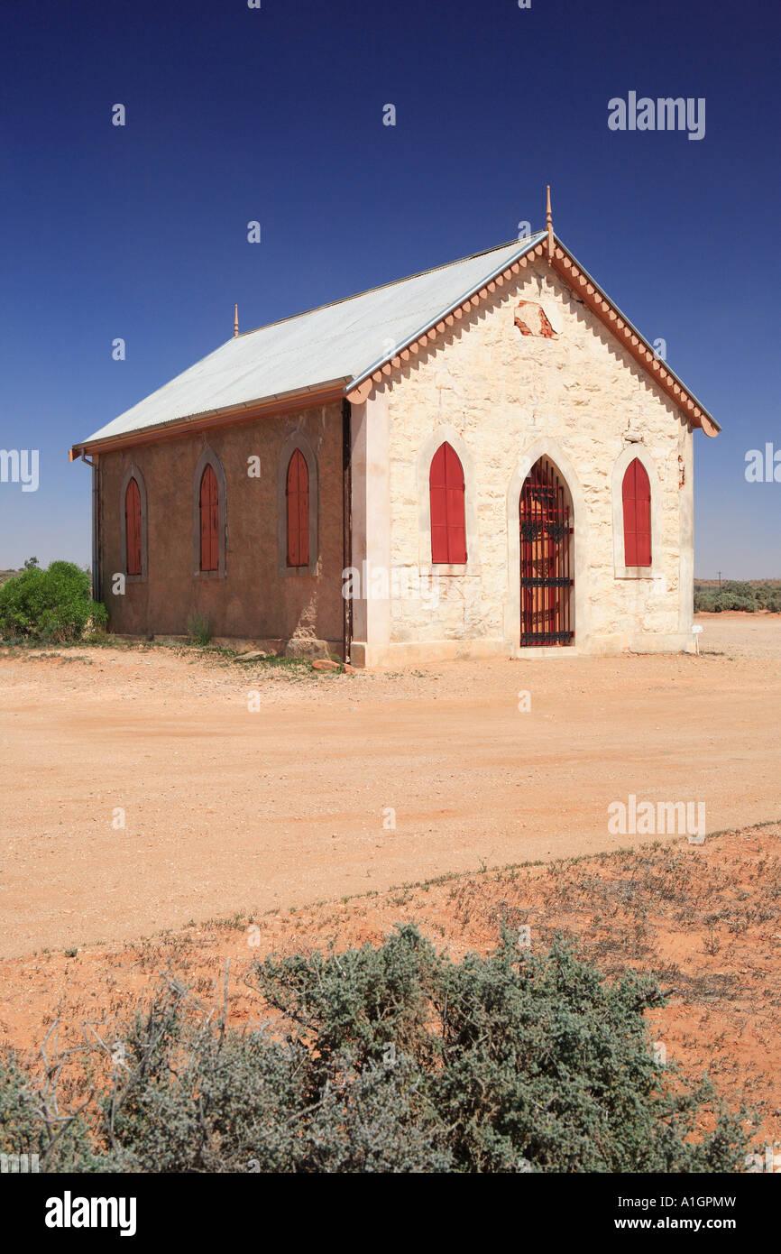 Église catholique et la Médaille Carvery, Silverton près de Broken Hill, New South Wales, Australie Banque D'Images