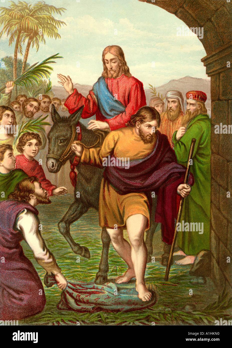 L'entrée du Christ à Jérusalem d'une édition de John Browns l'interprétation Bible d'abord publié en 1778 Banque D'Images