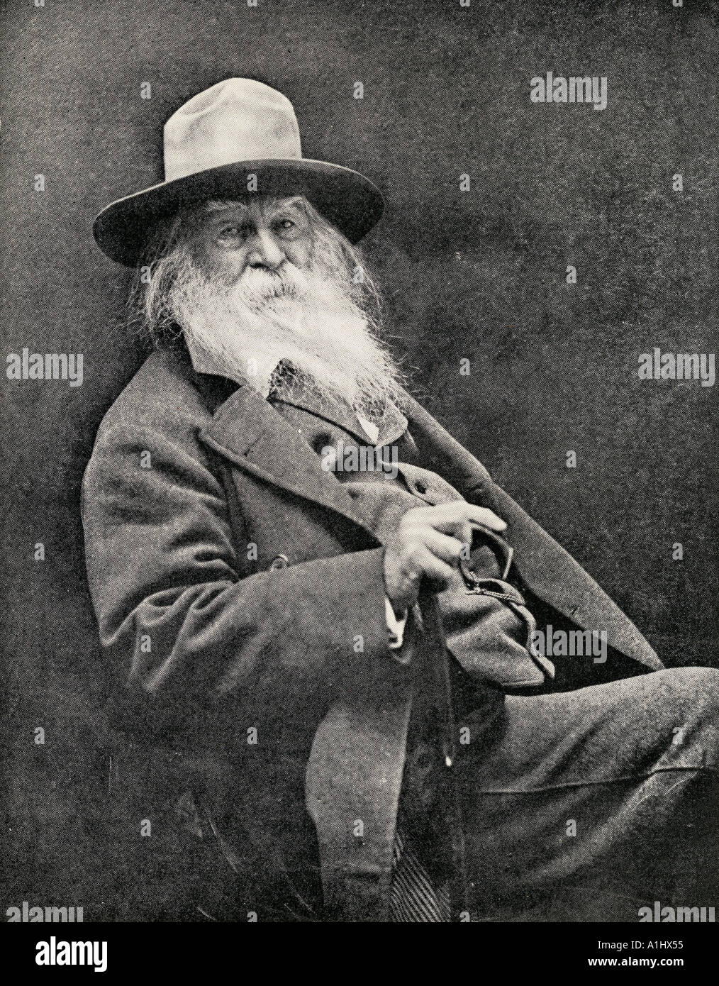 Walt Whitman, 1819 - 1892. Le poète américain Photo Stock