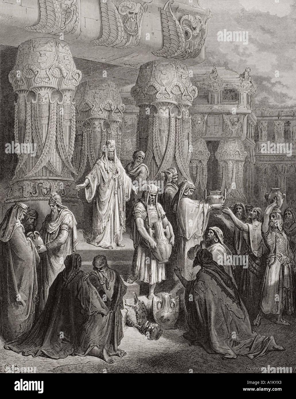 Gravure de la Dore illustrant la Bible Esdras j 7 à 11. Cyrus La restauration du Temple par les navires de l'Gustave Dore Banque D'Images