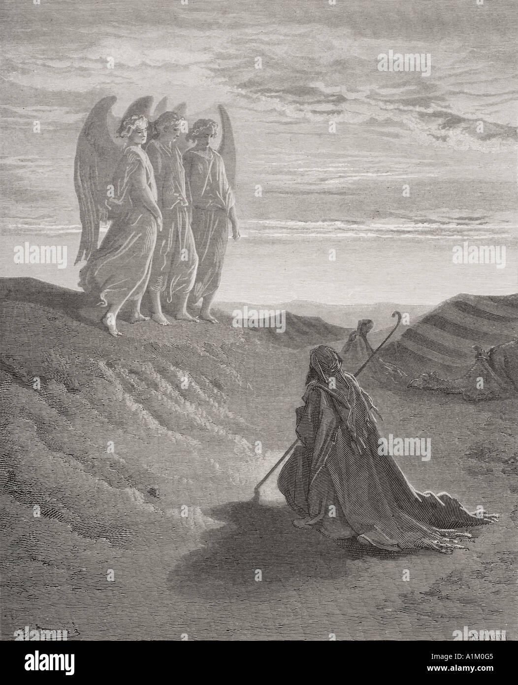 Gravure de la Dore Bible illustrant la genèse xviii 1 à 8. Abraham et les trois anges par Gustave Dore Banque D'Images