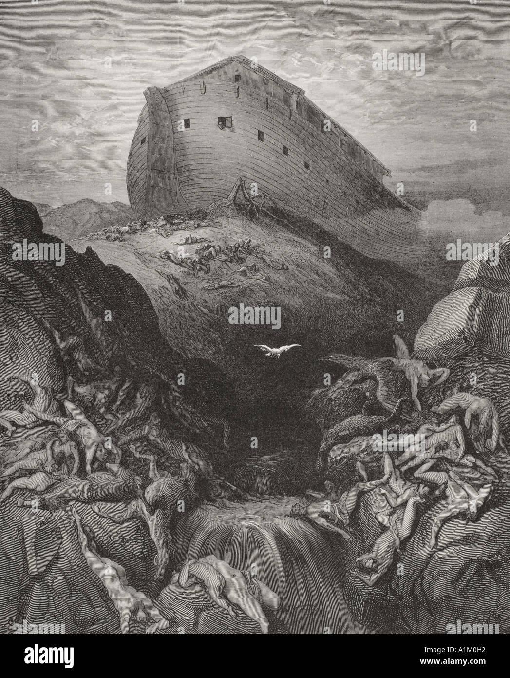 Gravure de la Dore Bible illustrant la genèse xiii 8 et 9. La Colombe envoyée depuis l'arche par Gustave Dore Banque D'Images