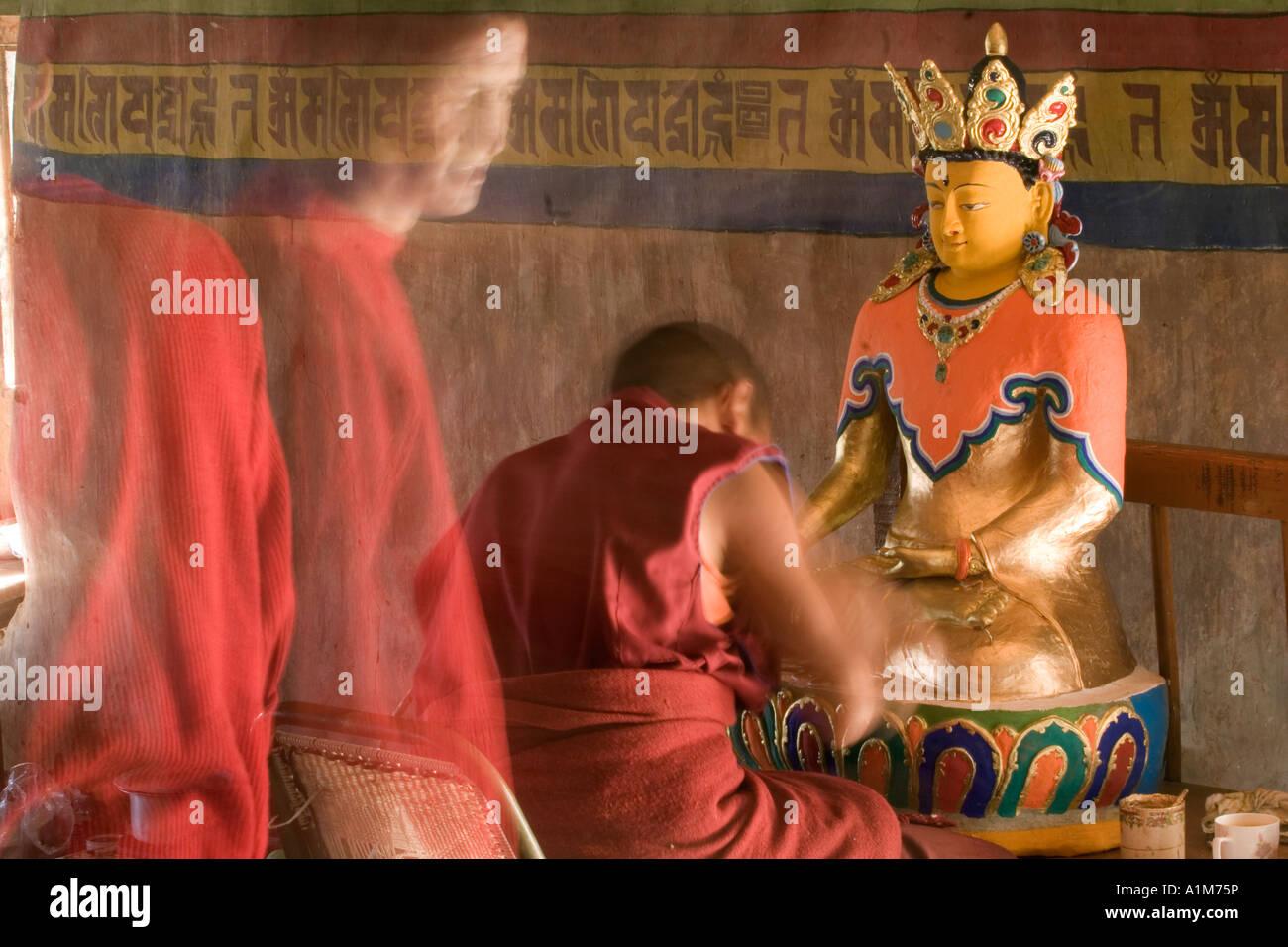 Le monastère de Thiksey, Thiksey, Ladakh, le Jammu-et-Cachemire, l'Inde Photo Stock