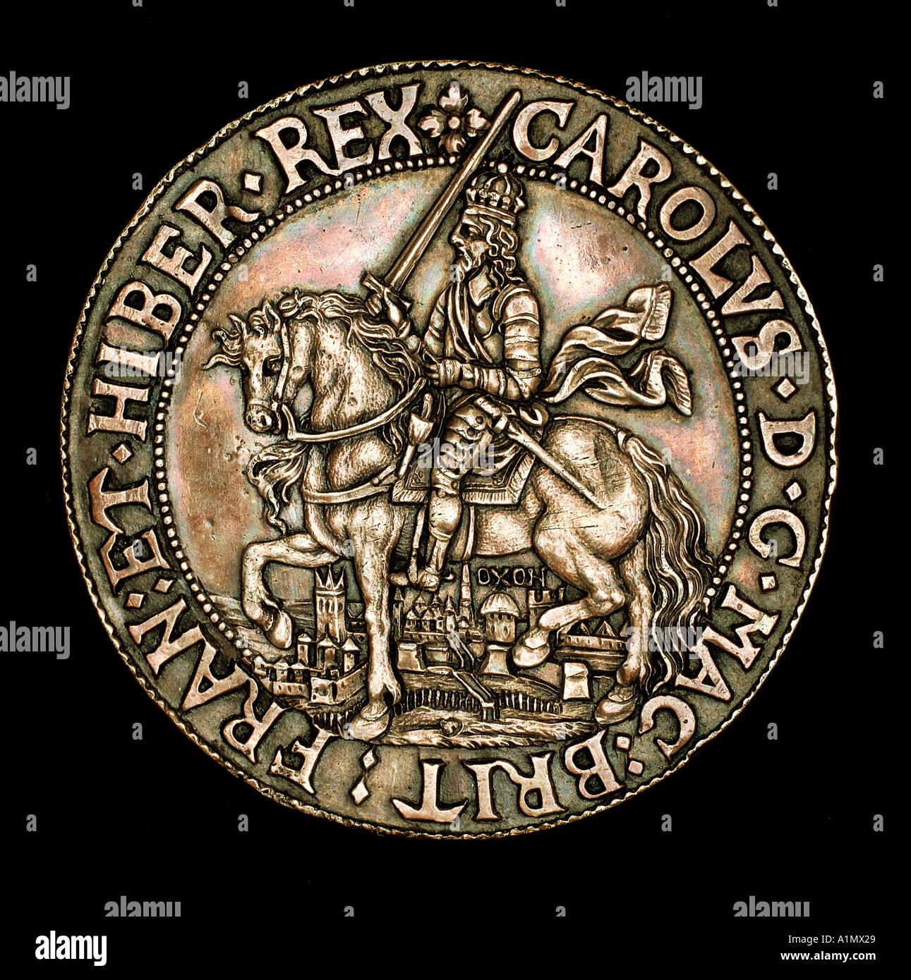 Anglais Charles premier en date du 1er 1644 frappées d'Oxford Photo Stock