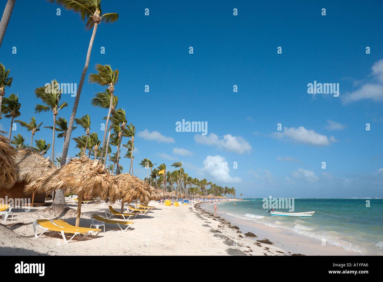 En dehors de la plage de Bavaro, l'hôtel Natura Park Bavaro, Punta Cana, République Dominicaine Photo Stock