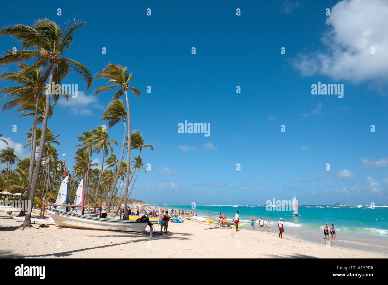 Bavaro Beach à l'extrémité occidentale par l'hôtels Riu, Bavaro/Punta Cana, République Photo Stock