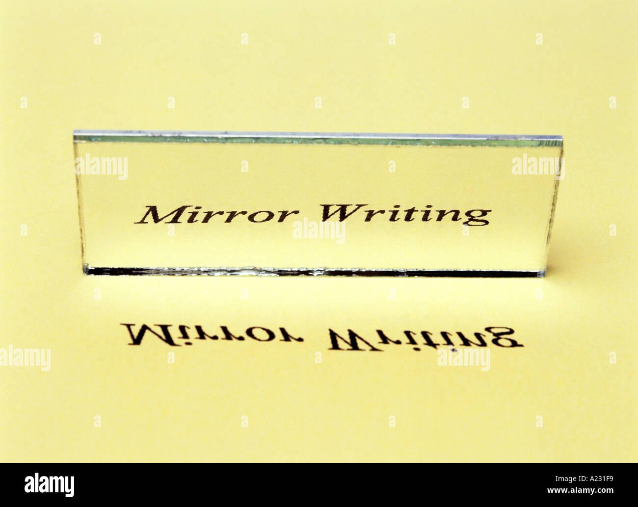 L'écriture miroir inversion latérale ou d'une image Photo Stock