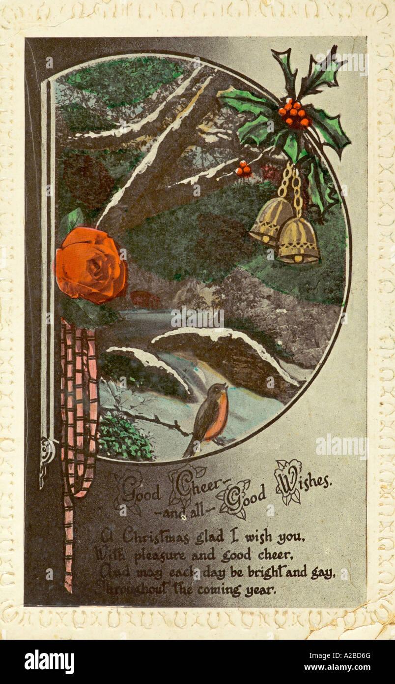 Voeux de Noël Carte Postale début du xxe siècle Photo Stock