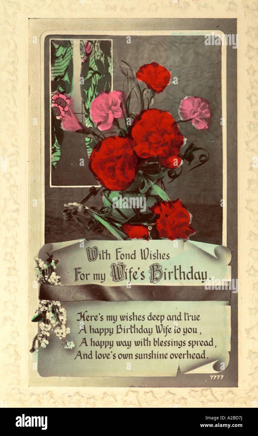 Pour femme Anniversaire Carte Postale début du xxe siècle Photo Stock