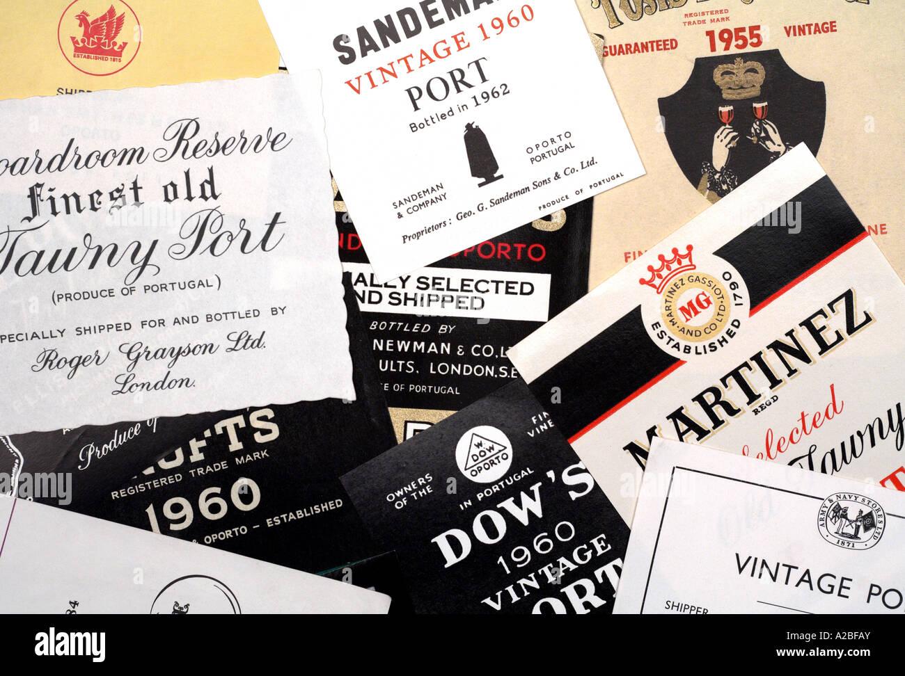 Étiquettes de bouteilles Port 1950 1960 Usage éditorial onl Photo Stock