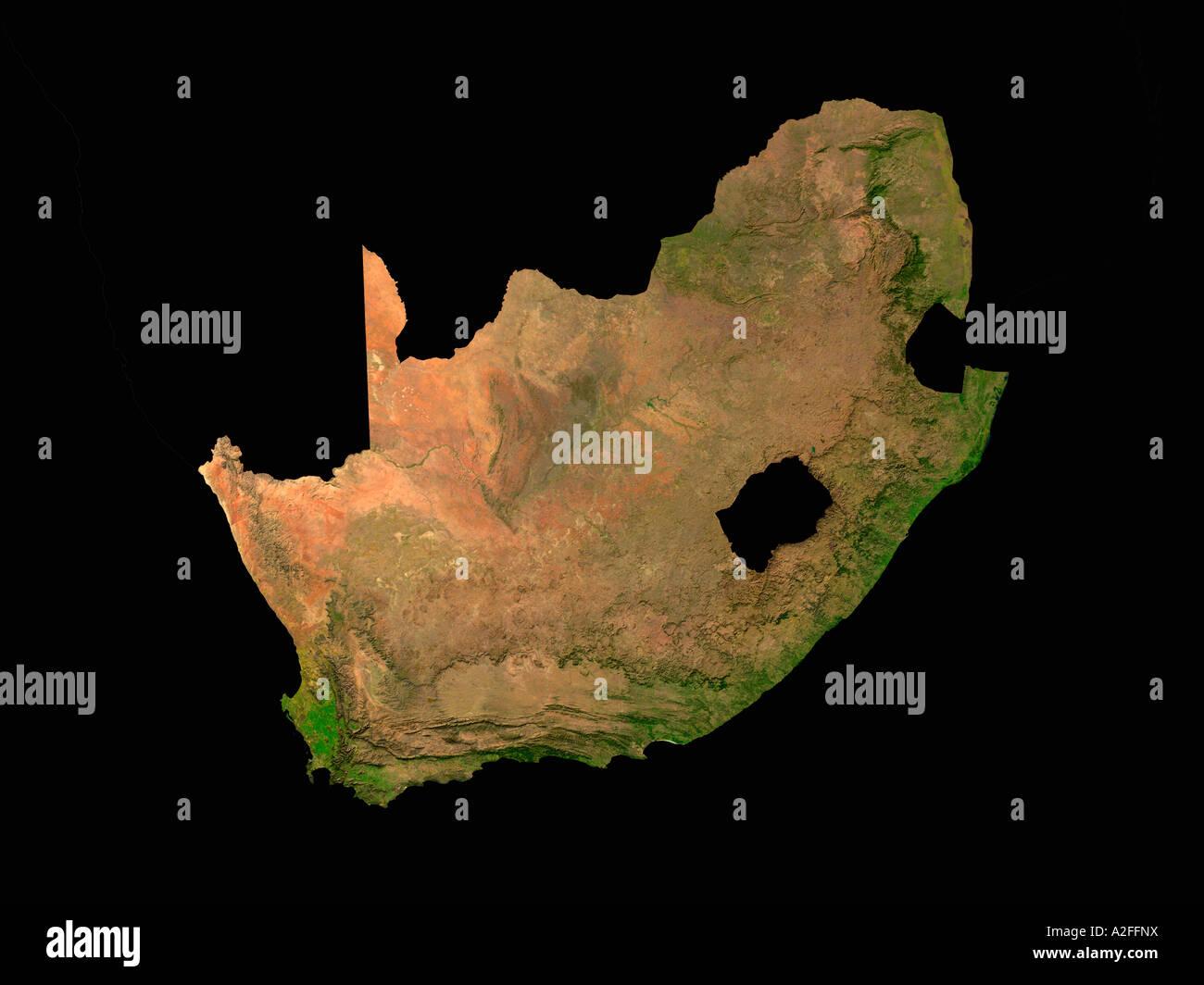 Carte Satellite Afrique Du Sud.A Mis En Relief Image Satellite De Republique D Afrique Du