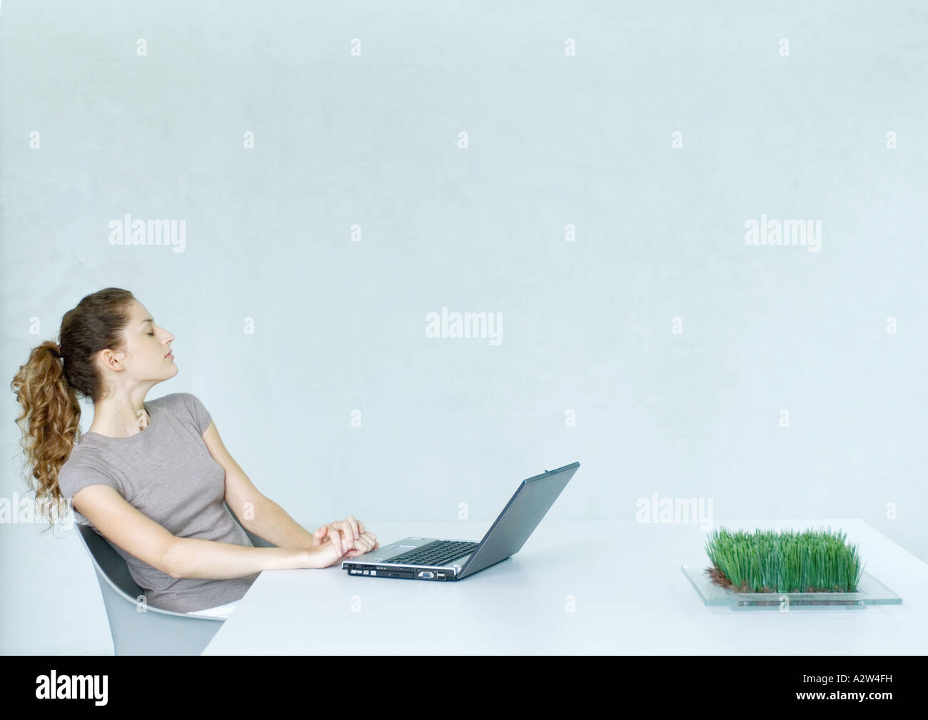 Woman sitting at table with laptop Photo Stock