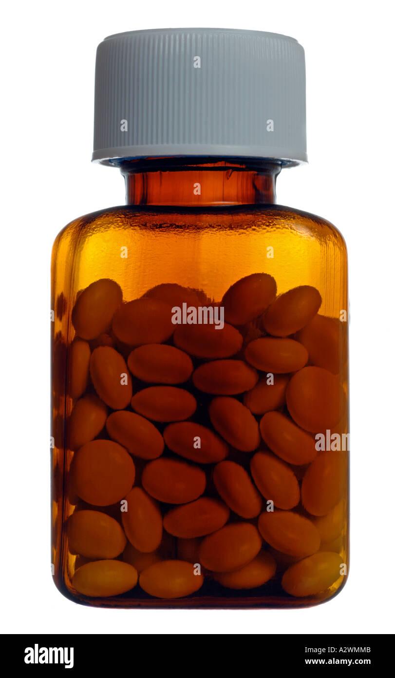 Bouteille de pilules comprimés Les comprimés génériques sur fond blanc, bouteille de pilules comprimés, cut out Photo Stock