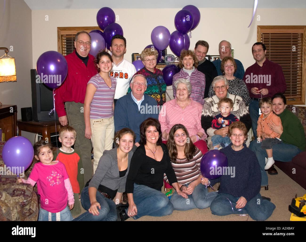 Portrait de famille de trois générations. Plainfield Illinois USA Photo Stock