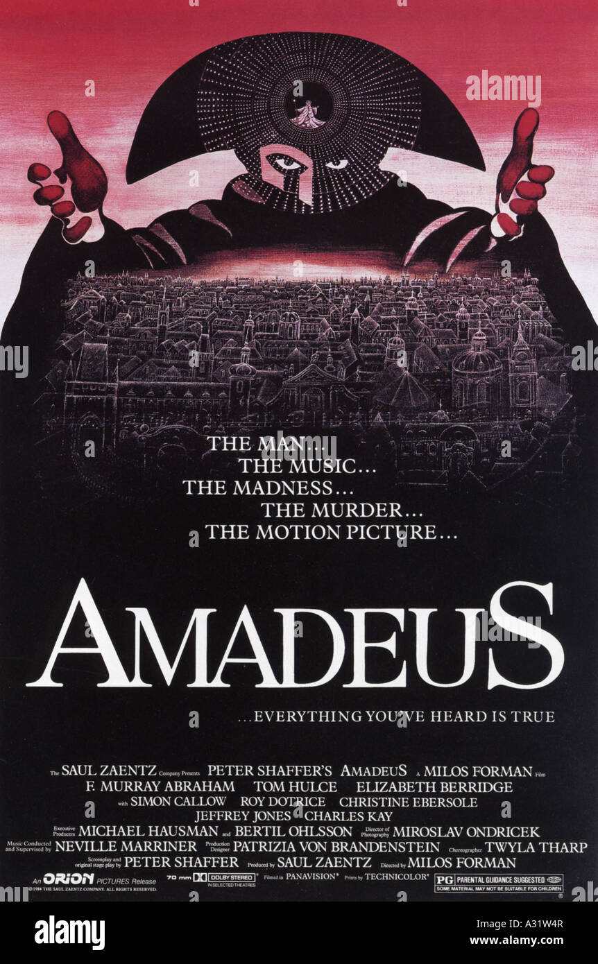 AMADEUS affiche pour 1984 film Saul Zaentz Banque D'Images