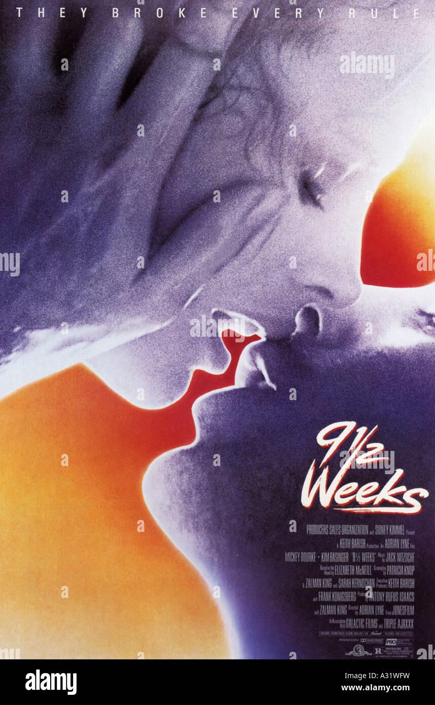 Neuf semaines et demie pour l'affiche 1986 MGM/UA film avec Mickey Rourke et Kim Bassinger Photo Stock