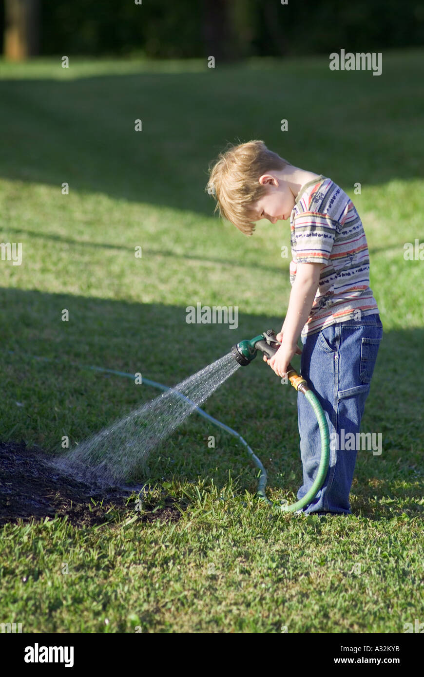 Arrosage enfant arbre herbe ennui dépression paresseux MR Photo Stock