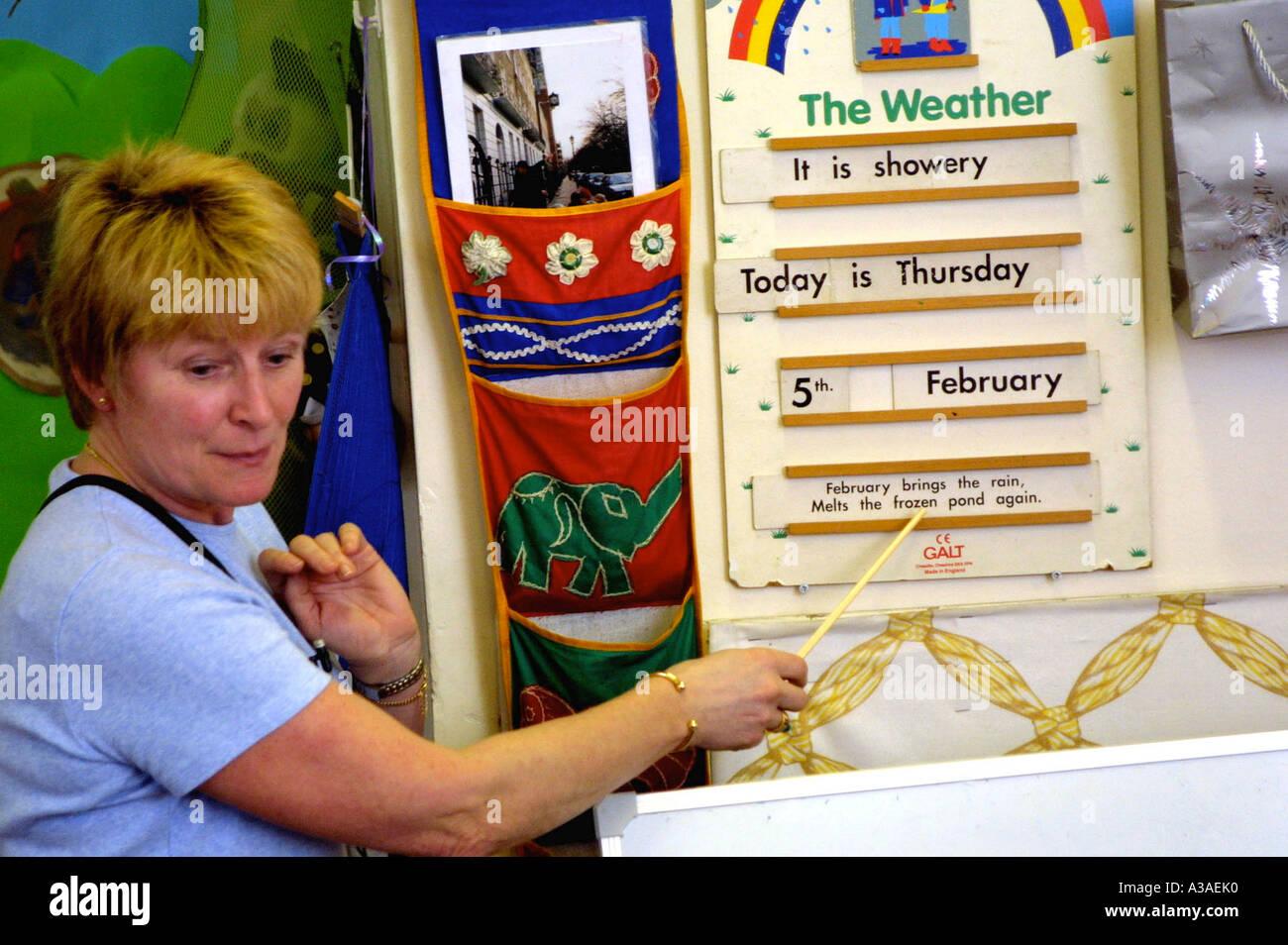 Maternelle montrant tableau météo Banque D'Images