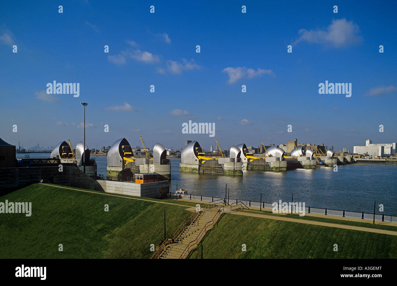 Thames Barrier à Woolwich pour protéger Londres à partir de l'augmentation des niveaux d'eau Photo Stock
