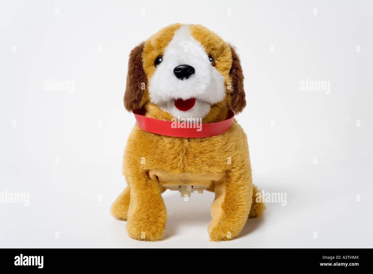 Peluche chien avec collier pour chien rouge Photo Stock