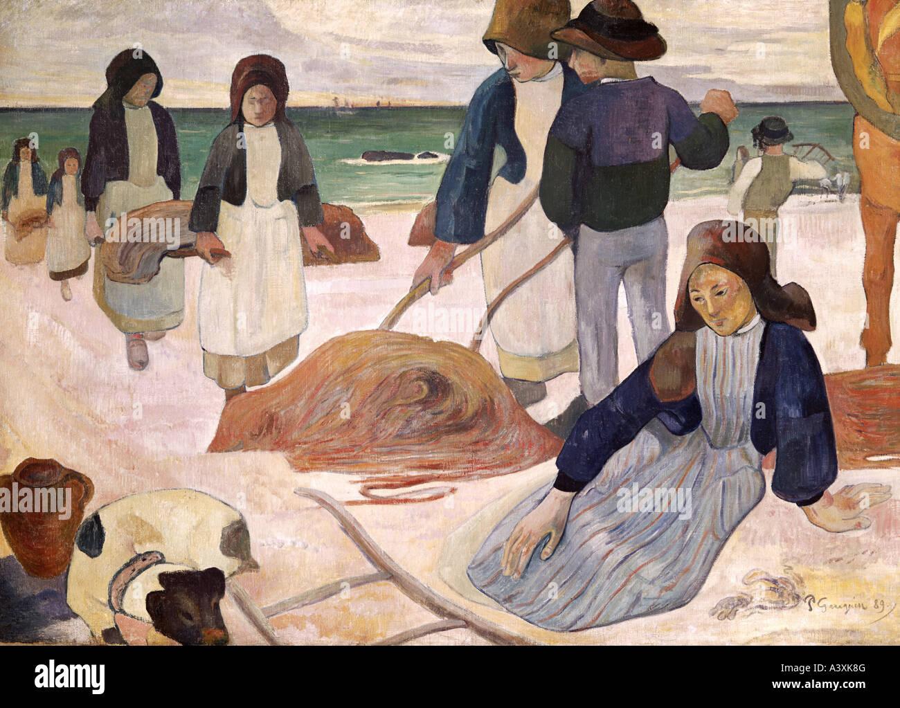 'Fine Arts, Gauguin, Paul, (1848 - 1903), peinture, 'collectors' algues Breton, 1889, Folkwang Museum, Photo Stock