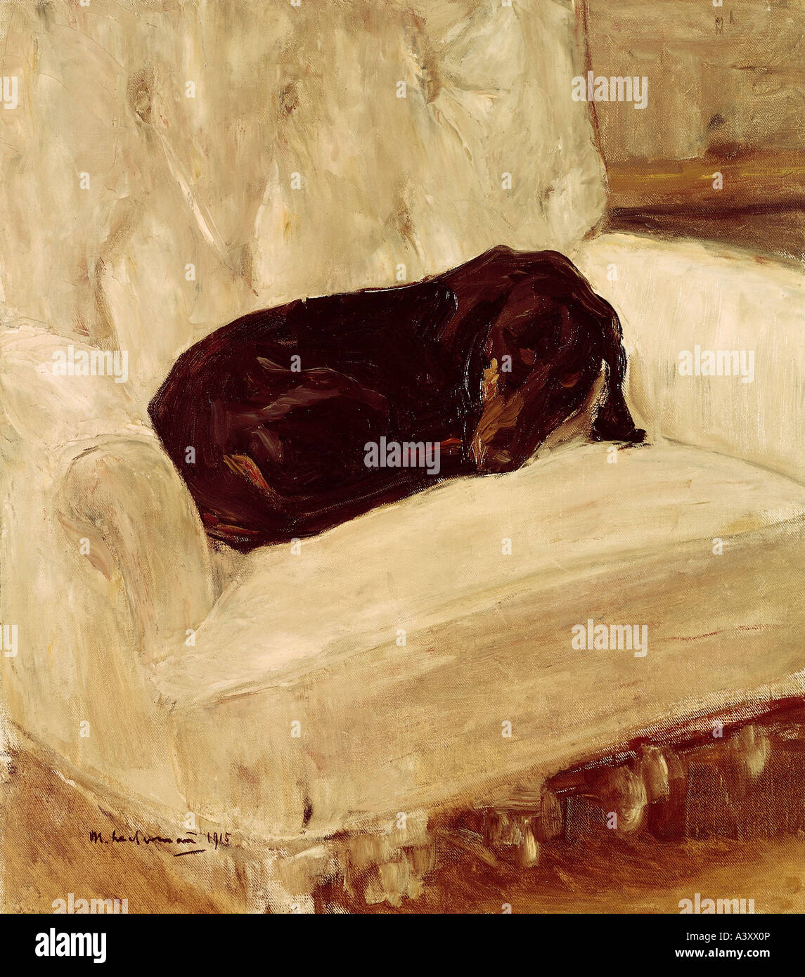 'Fine Arts, Liebermann, Max, (1847 - 1935), peinture, chlafender', 'SDackel teckel ('sleeping'), Photo Stock