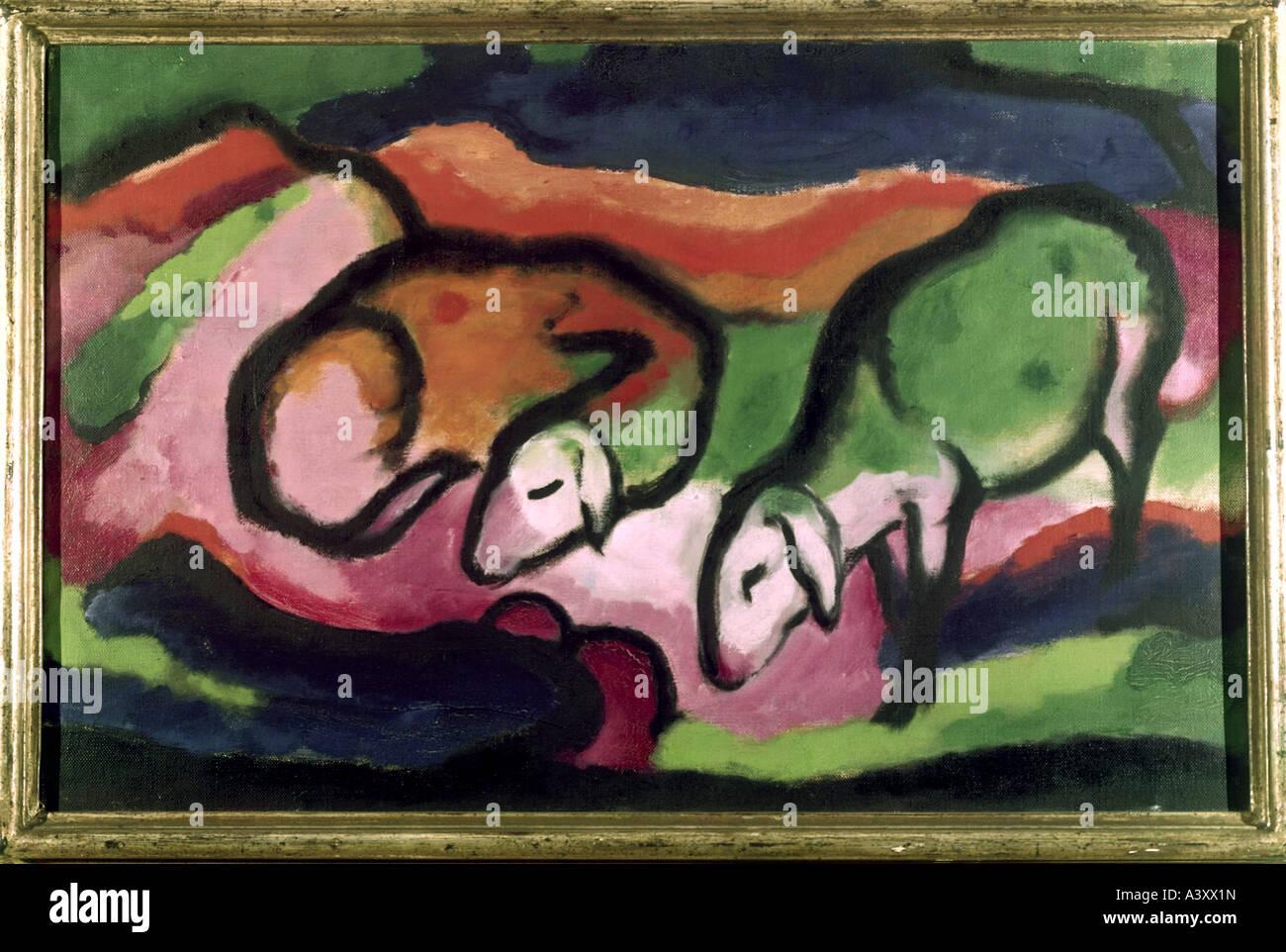 'Fine Arts, Marc, Franz, (1880 - 1916), peinture, 'Schafe', 'sheep', 1912, huile sur toile, 49,5 cm x 77 cm, musée Banque D'Images