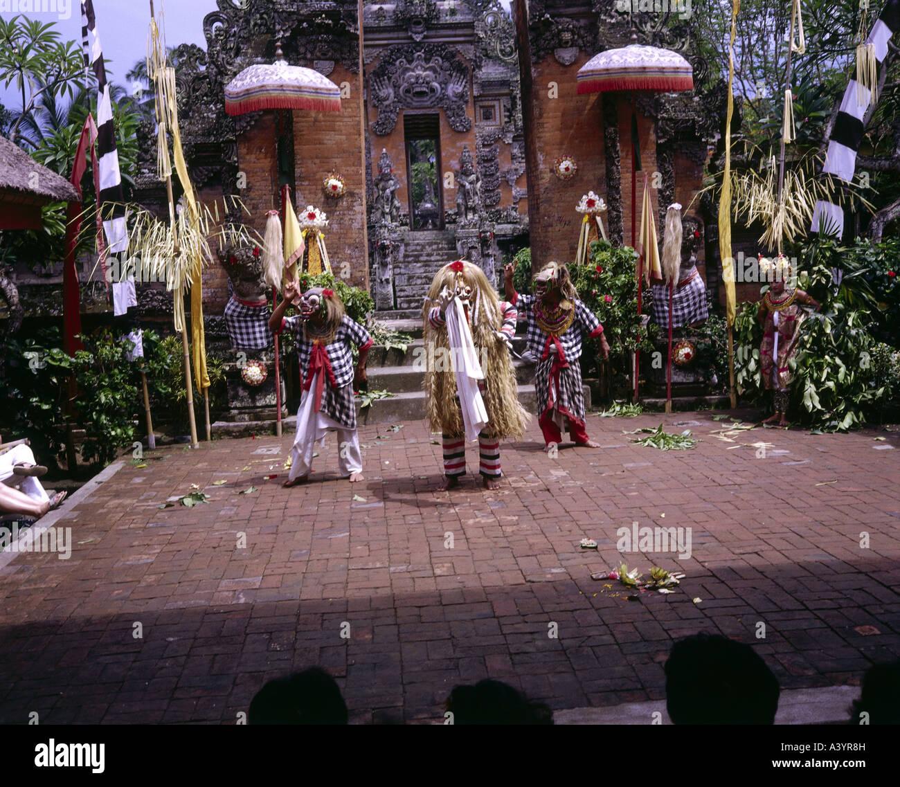 Billet /géographie, INDONÉSIE, Bali, tradition / folklore, danse Barong, apparition de Rangda, en Asie Photo Stock