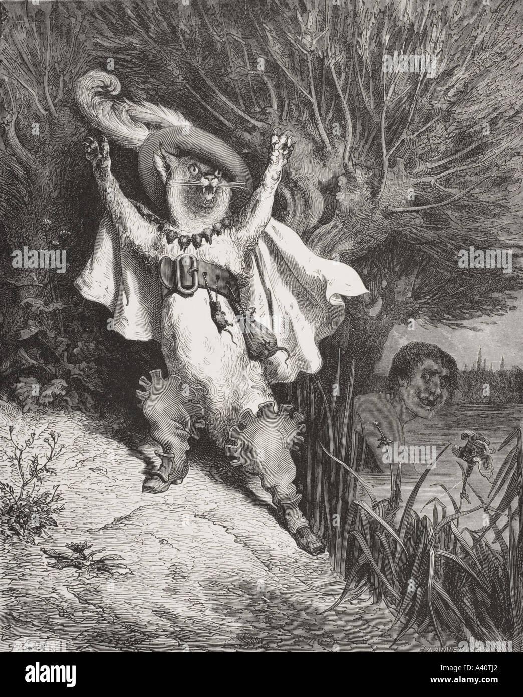Gravure de Gustave Dore, 1832 - 1883. Artiste et illustrateur français du Chat botté du Royaume de fées par Tom Hood Photo Stock