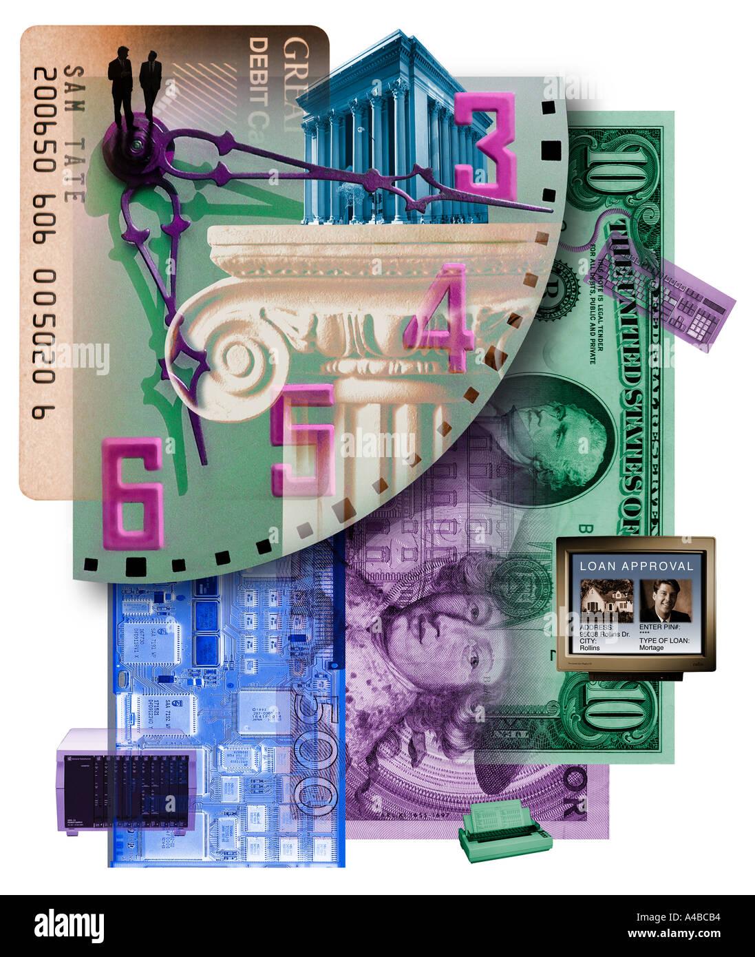 La banque et la finance, tel est le thème de ce collage service de guichet automatique et de la technologie de l'information s Photo Stock
