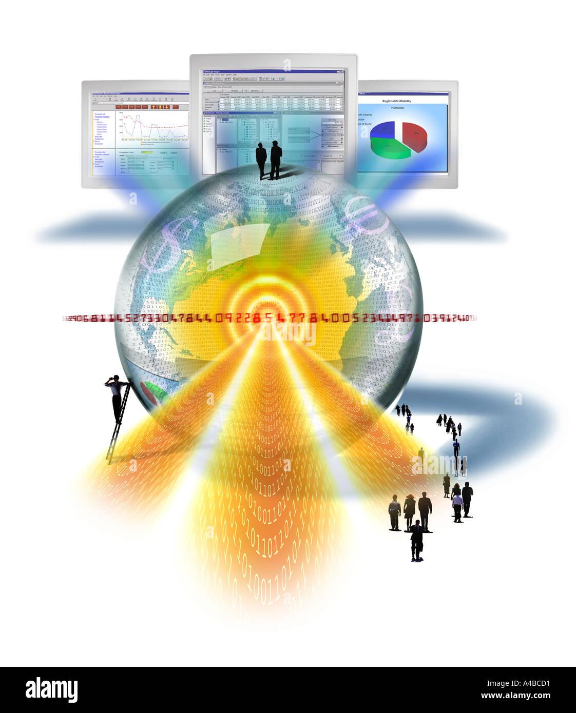 Collage représentant logiciel financier prévision Photo Stock